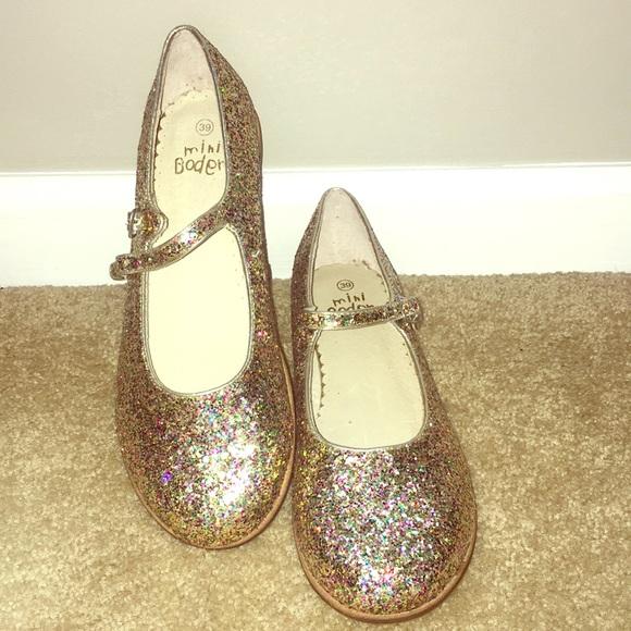 Mini Boden Glitter Mary Jane Flats
